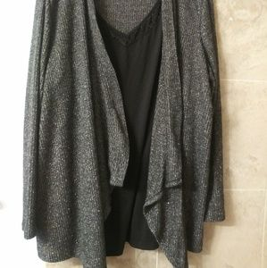 3x Built In Lace Tank Cardigan Sparkle sweater